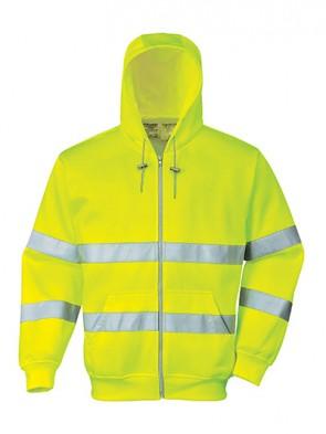 Portwest Hi-Vis Hooded Zip Sweatshirt