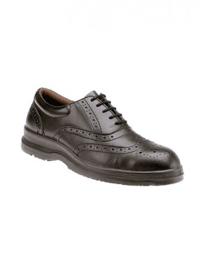 Grafters Black Smooth Leather Brogue Safety Steel Toe Cap & Steel Midsole Shoes