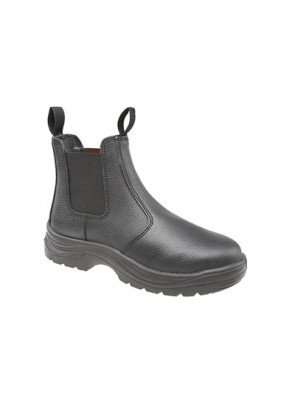 Grafters Black Leather Safety Steel Toe Cap Dealer - Chelsea Boot
