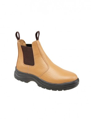 Grafters Tan Leather Safety Steel Toe Cap Dealer - Chelsea Boot