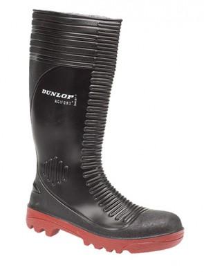 Dunlop Black Acifort Ribbed Full Safety Mens Wellington Boots